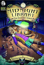 Midnight Library  The Gulliver Giant Chapter Book. Image of a black girl tied up on the library floor surrounded by tiny people with spears from Liliput. Black childrens book