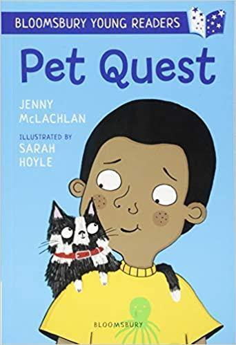 Pet Quest Early Reader book. Black boy on the cover with a cat on his shoulder looking at him, boy is wearing a yellow shirt. Black childrens book