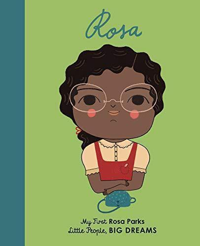Rosa Parks board book - image of childlike version of Rosa parks wearing glasses with arms crossed and red pinafore over a yellow top with a handbag in front. Black children's book about civil rights