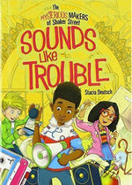 Soubds lije trouble chapter book Black boy on the cover hplding a megaphone wihth an asian girl and a white boy behind. Black childrens book