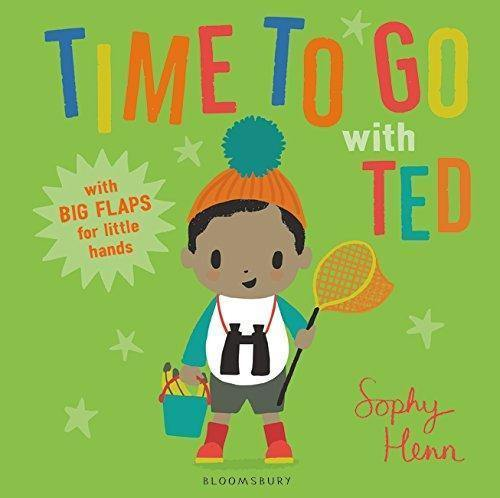 Ted is a black boy wearing an orange hat with a green puff holding a net and a bucket with binoculars around his neck and stars in the background