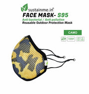 Sustainme Adjustable Cloth Face Mask - Reusable / Antibacterial / Anti Pollution  -S95 Pack Of 1- Black- 24 w X 14 h