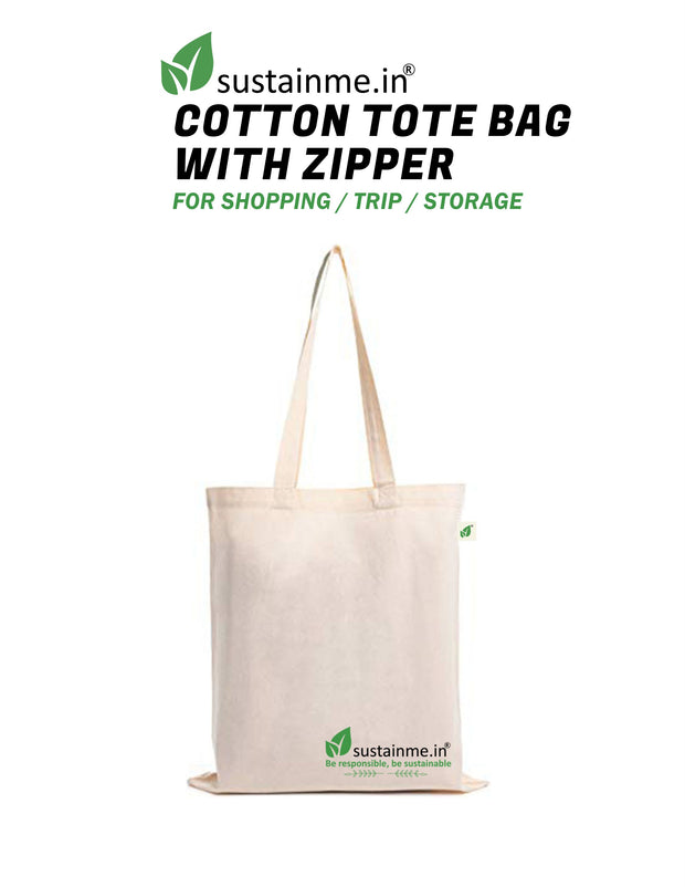 Sustainme Zipper Canvas Tote Bag for Women, Eco-friendly Handbags for Women Girls