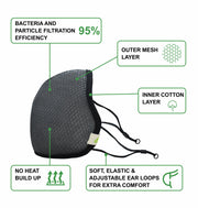 Sustainme Adjustable  Face Mask - Reusable | Antibacterial | Anti Pollution - S95 Pk Of 1 - Grey