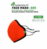 Sustainme Adjustable  Face Mask - Reusable | Antibacterial | Anti Pollution - S95 Pk Of 1 - Lt.Pink