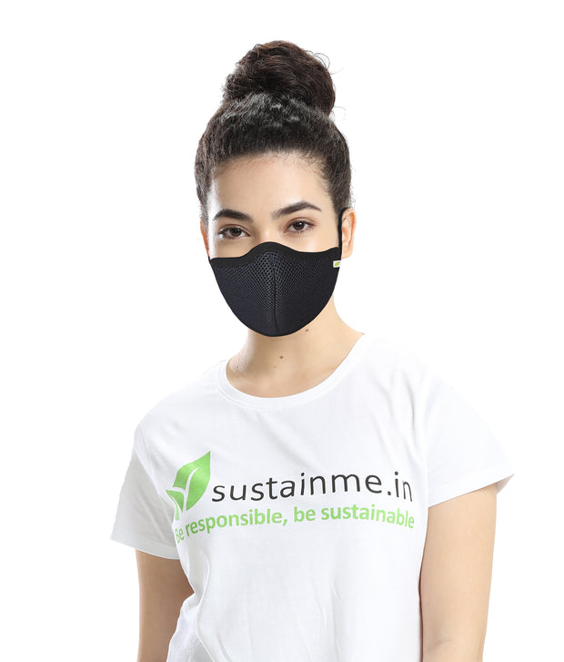 Sustainme Adjustable  Face Mask - Reusable | Antibacterial | Anti Pollution - S95 Pk Of  1 - Black