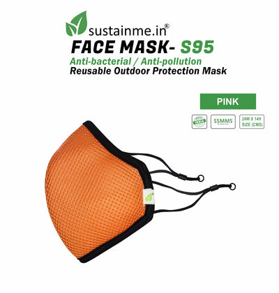 Sustainme Adjustable  Face Mask - Reusable | Antibacterial | Anti Pollution - S95 Pk Of 1 - Pink