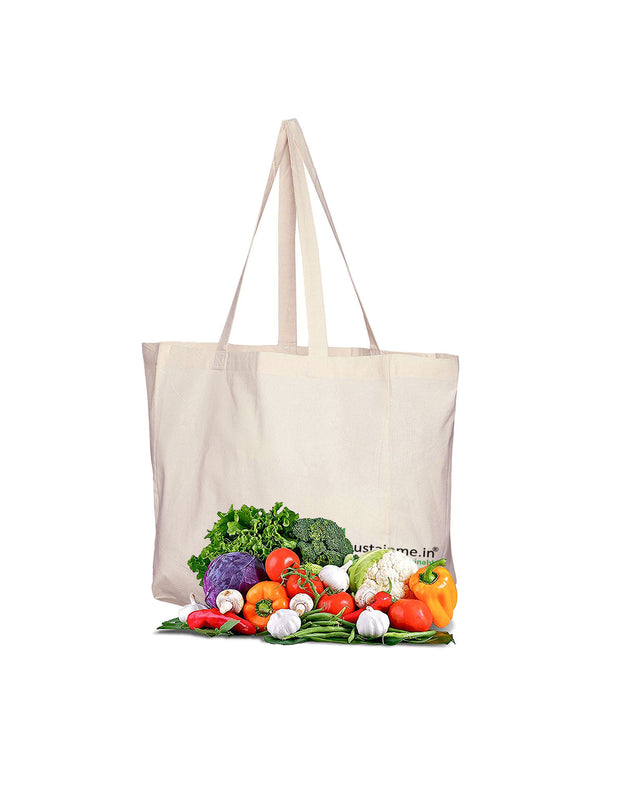 Sustainme Canvas Reusable Vegetable Bag/Grocery Bag/Carry Bag/Shopping Bag with 6 compartments/Pockets for organised Storage