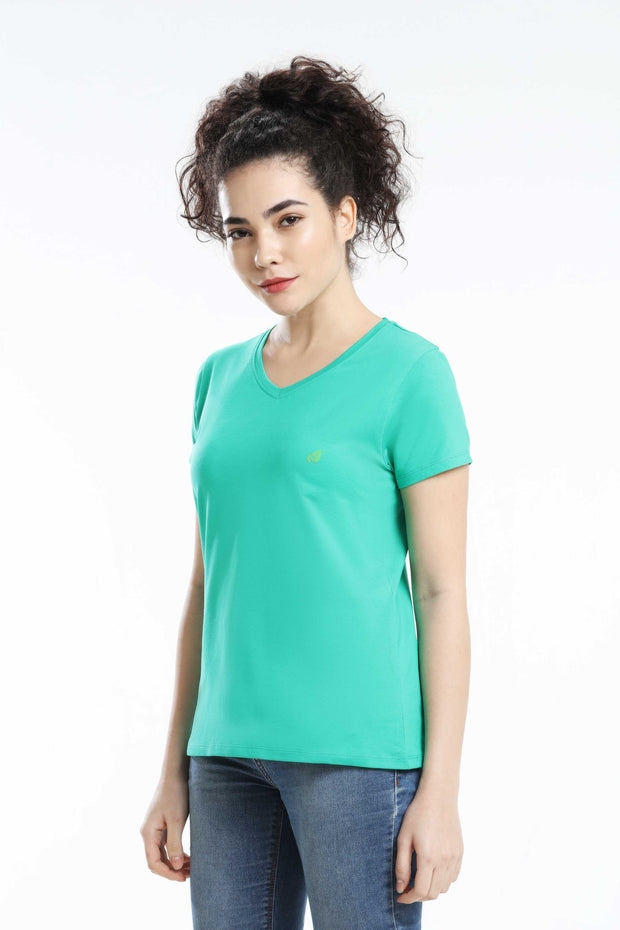 PIMA COTTON WOMEN T SHIRT - GREEN