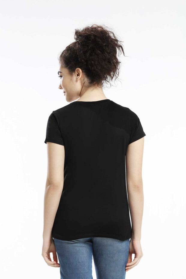 PIMA COTTON WOMEN T SHIRT - BLACK