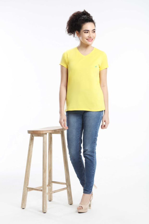 PIMA COTTON WOMEN T SHIRT - LIGHT YELLOW