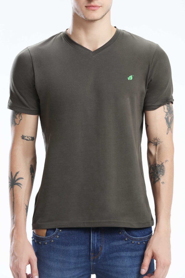 PIMA COTTON MEN T SHIRT - DARK GREY