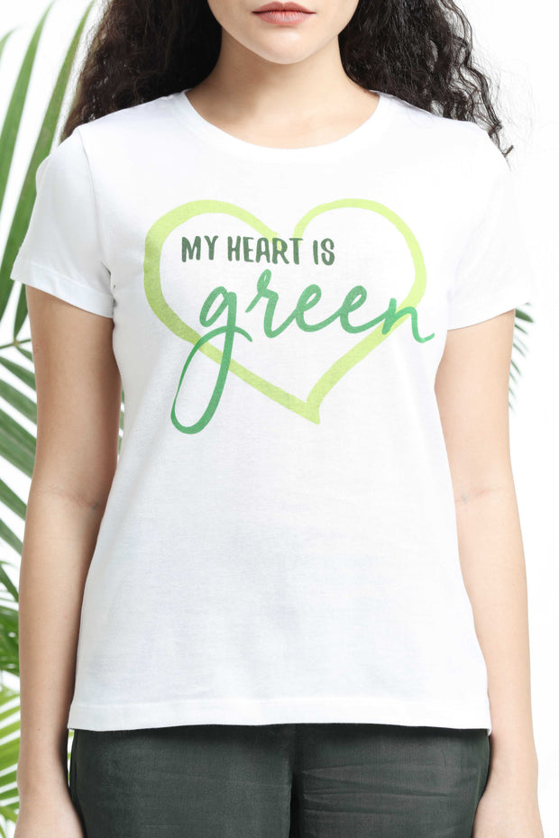My Heart is Green Womens T-shirt