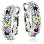 5.55 CTTW Gemstone Lining Earrings in 18K White Gold- Five Options