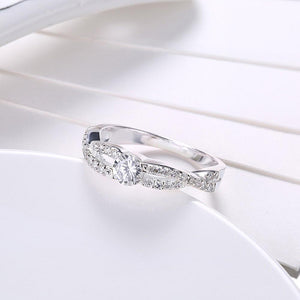 Sterling Silver Curved Pav'e Swarovski Ring