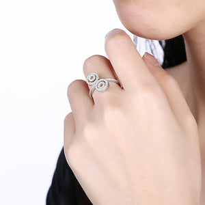 Sterling Silver Duo Swarovski Elements Swirl Adjustable Ring