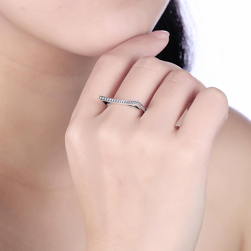 Sterling Silver Curved Angle Swarovski Ring
