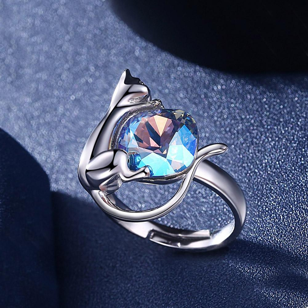 Sterling Silver Blue Swarovski Crystal Cat Ring