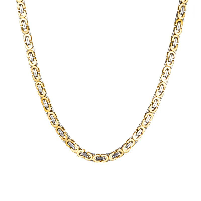 18K White/Gold Filled Byzantine Chain 23.5""