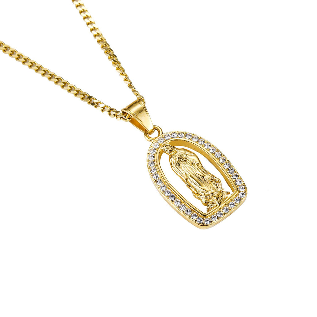 Icedout 18K Gold Filled Praying Mother Mary Pendant Necklace
