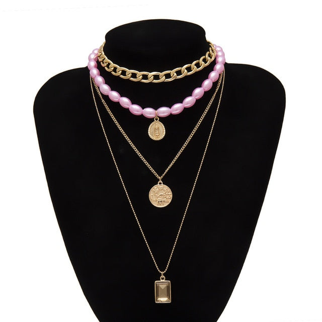 Punk Multi Layered Pearl Choker Necklace Collar Statement Virgin Mary Coin Crystal Pendant Necklace Women Jewelry