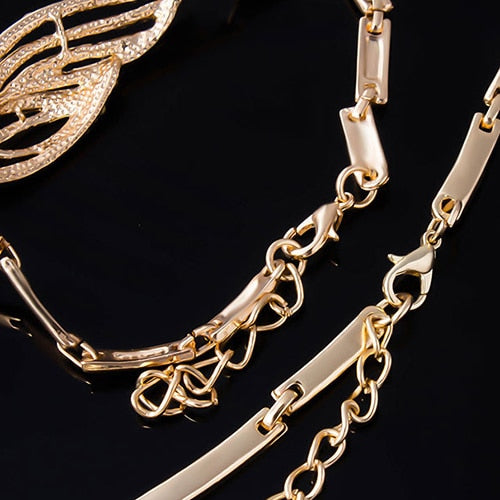 JB Bridal Party Wavy Rhinestone Choker Necklace Bracelet Ring Earrings Set (Gold plated alloy)
