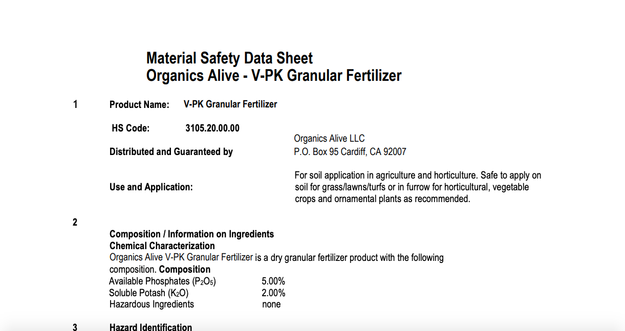 Material Safety Data Sheet: V-PK Granular Fertilizer