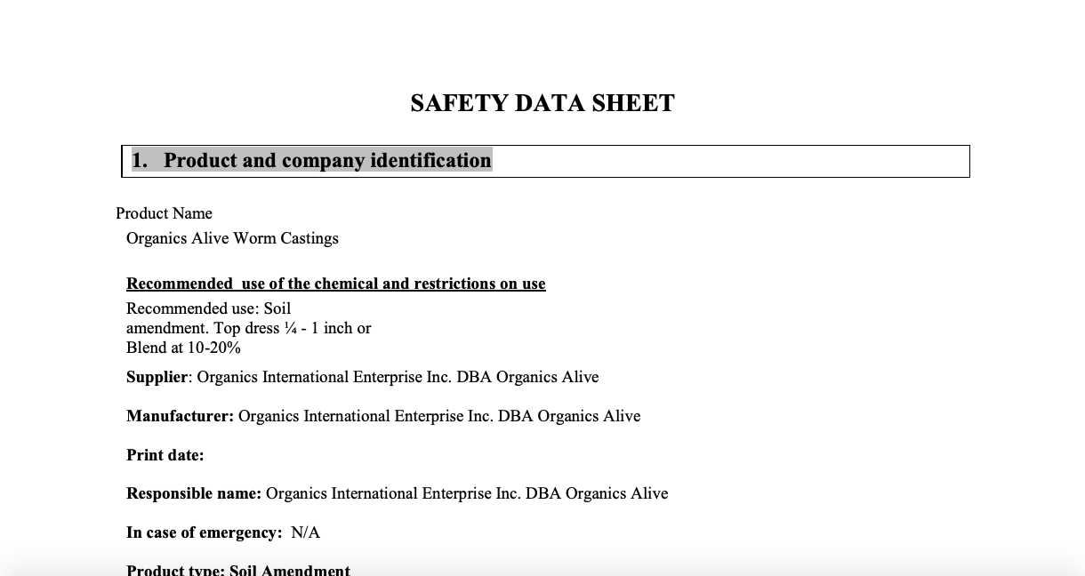 Material Safety Data Sheet: Worm Castings