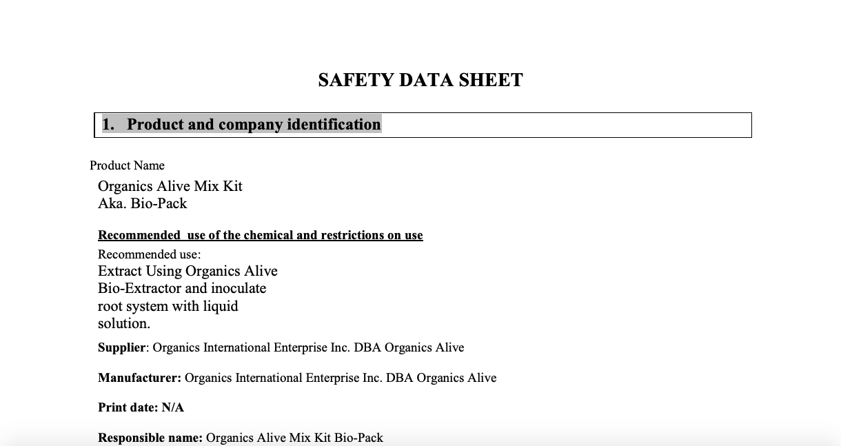Material Safety Data Sheet: Mix Kit