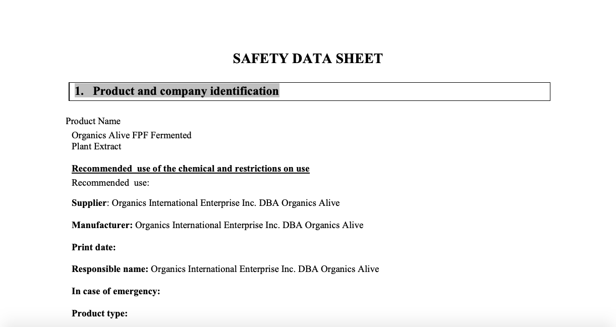 Material Safety Data Sheet: FPF