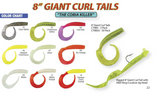 "8"" Giant Curl Tails - H&H Lure Company"