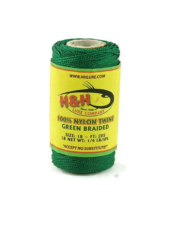 1/4 lb. Braided Nylon Twine - Green / White - H&H Lure Company