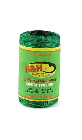 1/4 lb. Twisted Nylon Twine - Green / White - H&H Lure Company