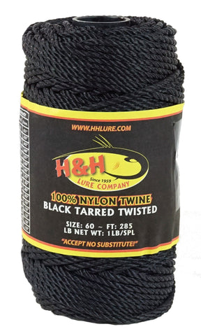 1 lb. Black Tarred Twisted Twine - H&H Lure Company