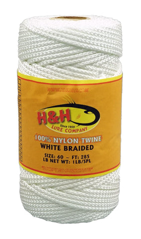 1 lb. Braided Nylon Twine - Green / White - H&H Lure Company