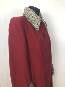 1940s Red Wool Coat with Grey Fur Trim - B38