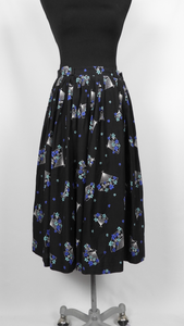 1950s Black Cotton Novelty Print Skirt with Fans - W27 28