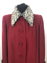 Load image into Gallery viewer, 1940s Red Wool Coat with Grey Fur Trim - B38