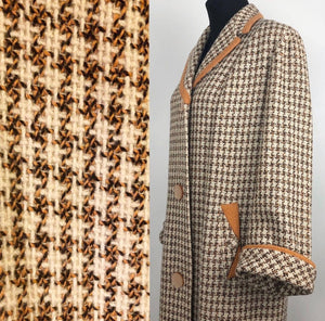 1950s Houndstooth Check Coat in Orange, Black and Cream - B38/39