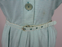 Load image into Gallery viewer, 1940s St Michael Green and White Stripe Dress - B40