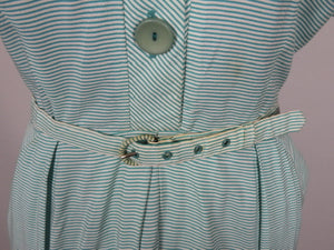 1940s St Michael Green and White Stripe Dress - B40