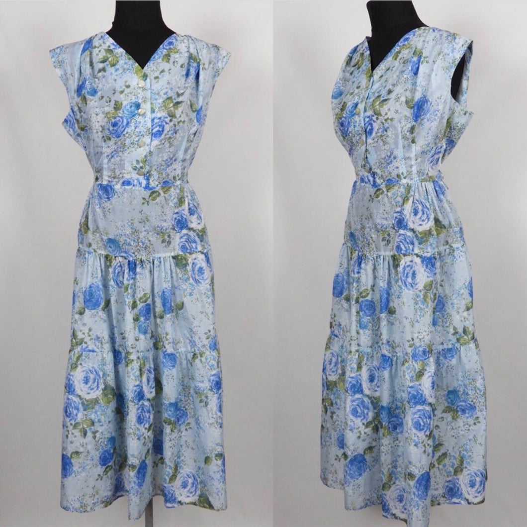 1950s Blue Roses Nylon Dress - B38/40