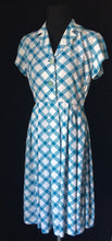 Load image into Gallery viewer, 1950s St Michael Marspun Blue and Check Dress - B36