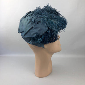 1940s Alice Camue Blue Ostrich Feather and Silk Hat