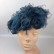 Load image into Gallery viewer, 1940s Alice Camue Blue Ostrich Feather and Silk Hat