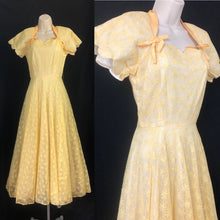 Load image into Gallery viewer, 1950s Lee Delman Yellow Floral Net Evening Dress