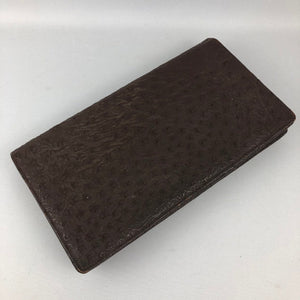 1930s 1940s Brown Leather Clutch Bag - Ostrich Skin