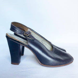 Original 1940s Brevitt Navy Leather Sling Back Peep Toe Shoes - UK 3 3.5