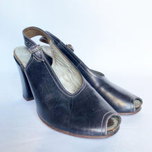 Load image into Gallery viewer, Original 1940s Brevitt Navy Leather Sling Back Peep Toe Shoes - UK 3 3.5