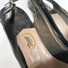 Load image into Gallery viewer, Original 1940s Black Leather Vitality Peep Toe Shoes - UK 3 3.5